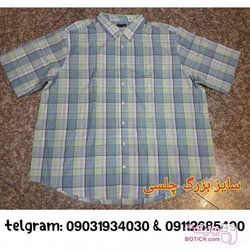 پیراهن آستین کوتاه ۱۰۰% نخی سبز سایز بزرگ مردانه