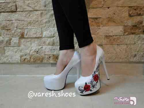 کفش پاشنه 15 سانت سفید كفش زنانه