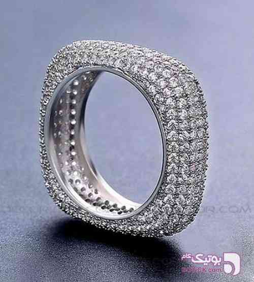 انگشتر مربعی جواهر نقره ای انگشتر