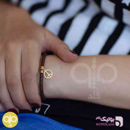 دستبند طلا و چرم مشکی دستبند