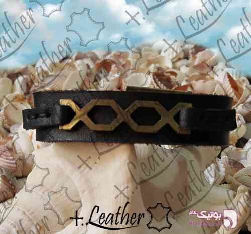دستبند چرم طبیعی برندplus leather مشکی دستبند و پابند