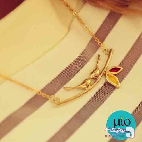 گردنبند برنجی جوجه و درخت  طلایی گردنبند