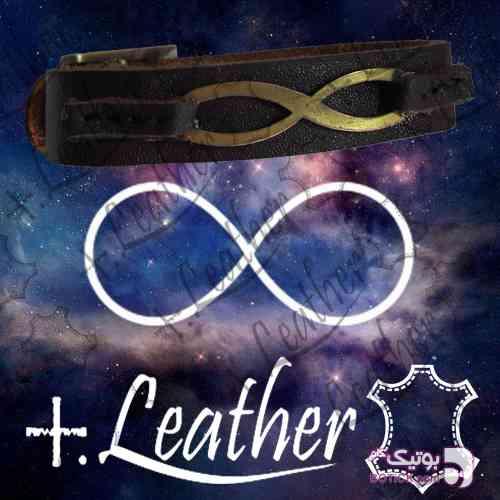 دستبند چرم اصل طرح بینهایت قهوه ای دستبند و پابند