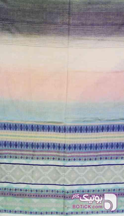 شال نخی طرح گلیم  آبی شال و روسری