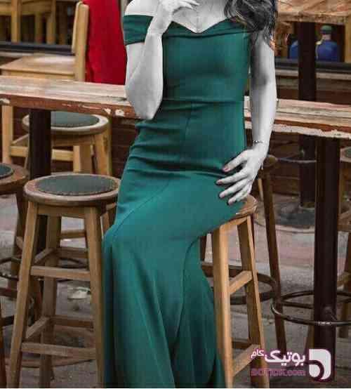 لباس ترک رنگ ابی اینکار موجوده آبی لباس  مجلسی