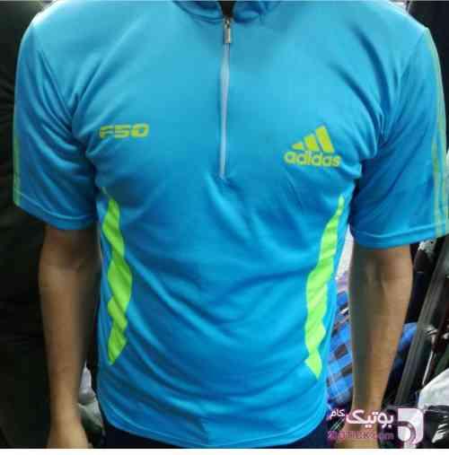 پیراهن نیم زیپ و باشگاهی  آبی ست ورزشی مردانه