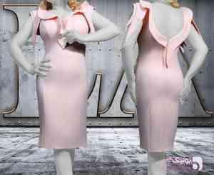 پیراهن مجلسی زنانه صورتی لباس  مجلسی