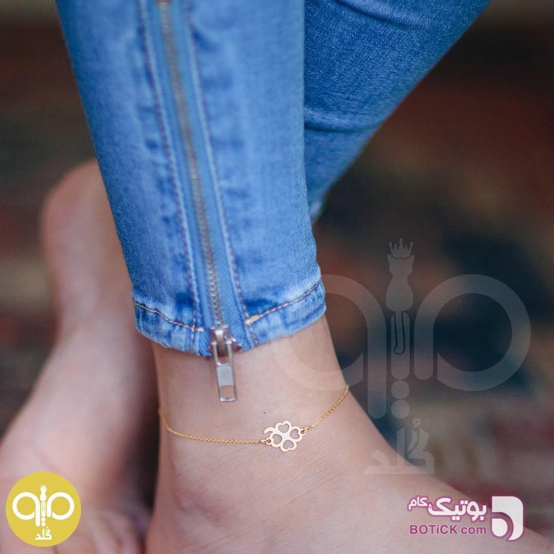 پابند طلا طرح گل طلایی دستبند و پابند