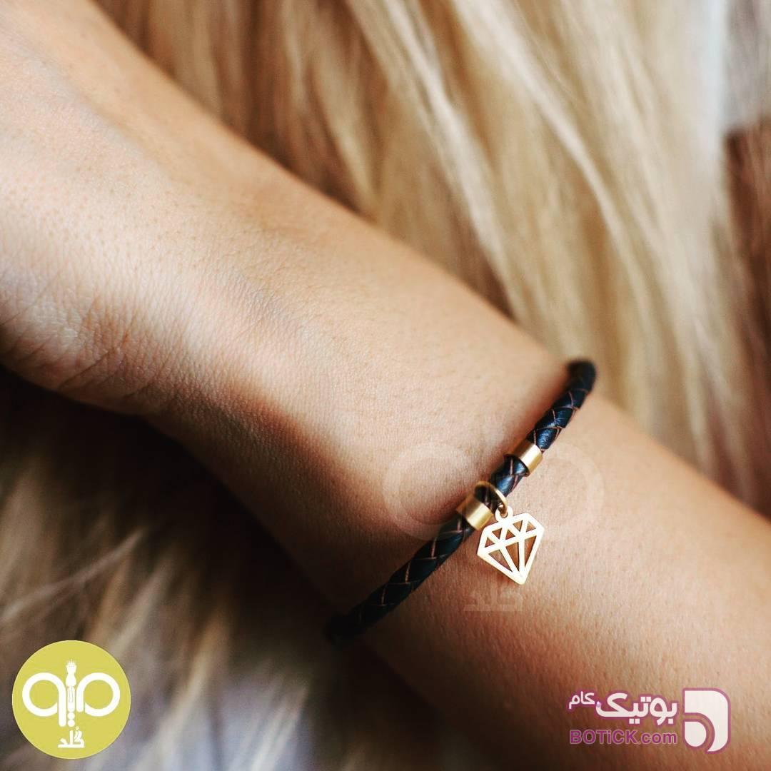 دستبند چرم و طلا مشکی دستبند و پابند
