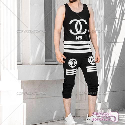 ست رکابی و شلوارک Chanel مدل N5 مشکی لباس راحتی مردانه