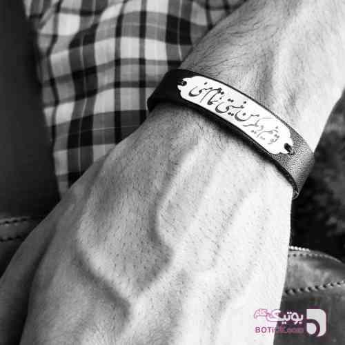 دستبند نقره و چرم مشکی دستبند و پابند