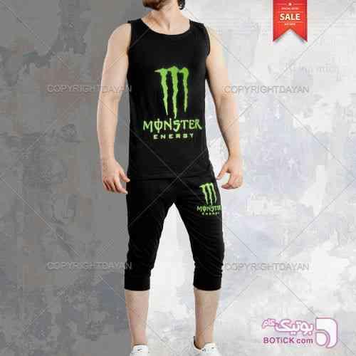 ست رکابی و شلوارک Monster مدل Shenton مشکی لباس راحتی مردانه