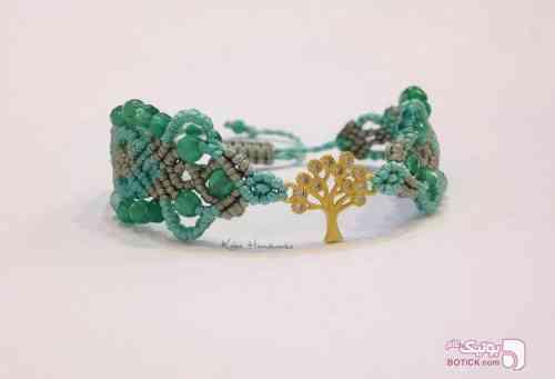 دستبند - نخ، دُر كوهى - طلا سبز دستبند و پابند