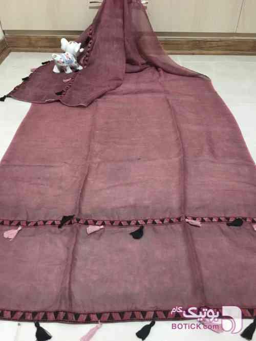 شال سنگ شور منگوله دار صورتی شال و روسری