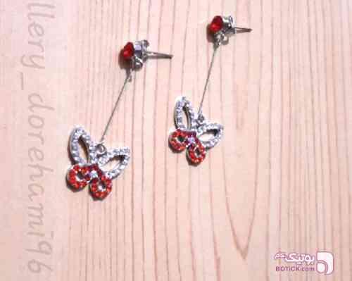 گوشواره نگین دار پروانه ای قرمز گوشواره