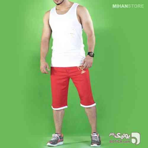 ست رکابی و شلوارک طرح Metis قرمز لباس راحتی مردانه
