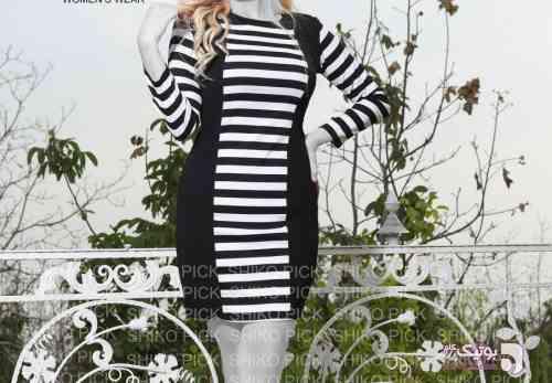 مدل تونیک راه راه مشکی لباس  مجلسی