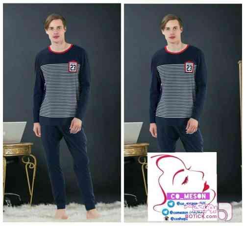 ست بلوز مردانه آستین بلند و شلوار مارک ، دارای سایزبندی سورمه ای لباس راحتی مردانه