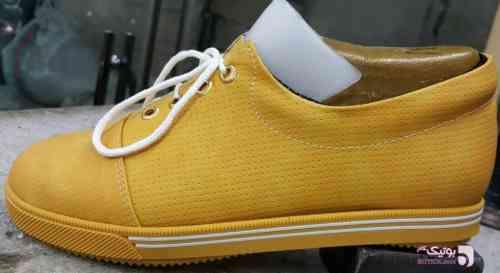 کفش اسپرت زنانه خردلی طلایی كتانی زنانه