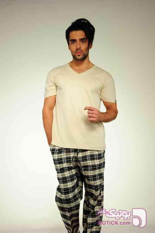 ست تیشرت و شلوار یقه 7  سورمه ای لباس راحتی مردانه