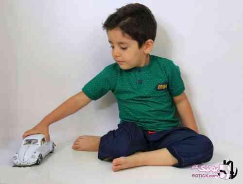 بلوز شلوارک مجلسی بچگانه سبز لباس کودک پسرانه