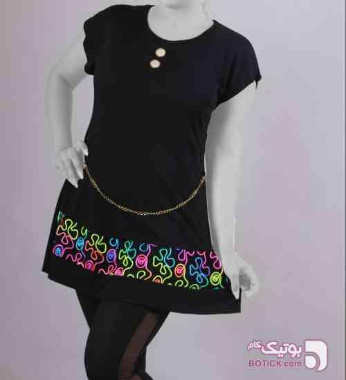 سارافون زنجیری دو دکمه مشکی تی شرت زنانه