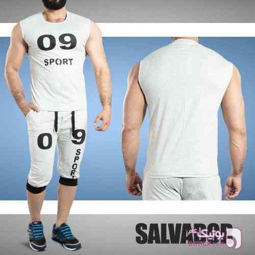 ست رکابی وشلوارک Salvador سفید لباس راحتی مردانه