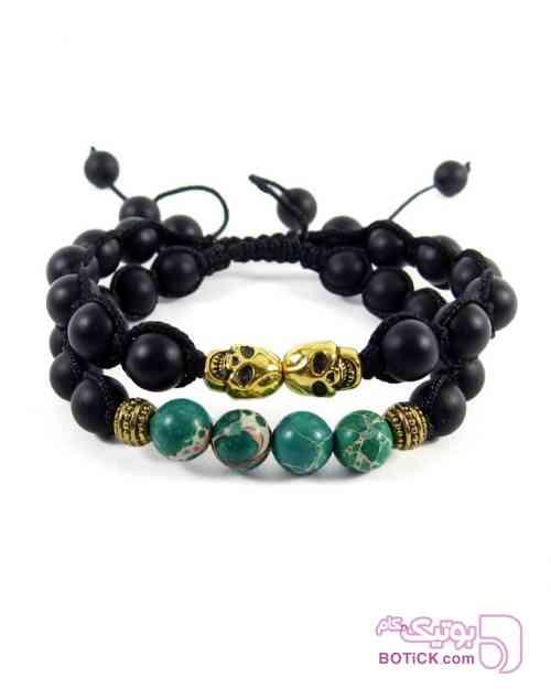 پکیج دوتایی دستبند مهره ای انیکس و فیروزه سبز دستبند و پابند