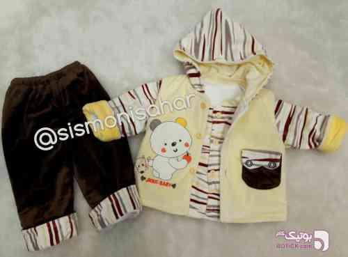 کاپشن شلوار مخمل نوزادی 3 تیکه  زرد لباس کودک پسرانه