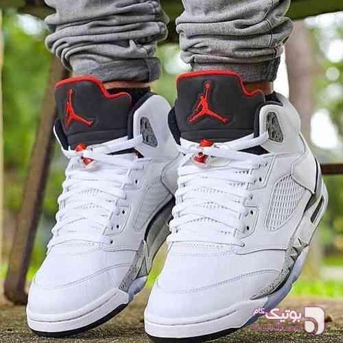 Nike jordan retro 5 سفید كتانی مردانه