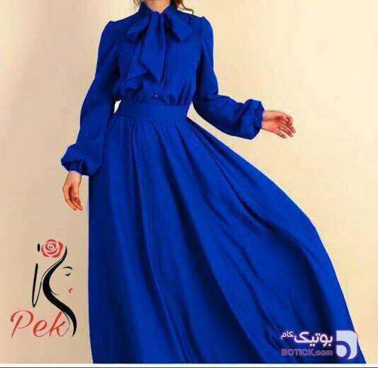 مانتو پیراهن آبی لباس  مجلسی