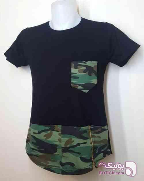 تی شرت زیپ دار رپی طرح ارتشی (فیری سایز) سبز تی شرت مردانه