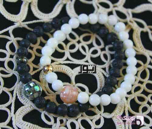 ست زوج مرجان و لاوا مشکی دستبند و پابند