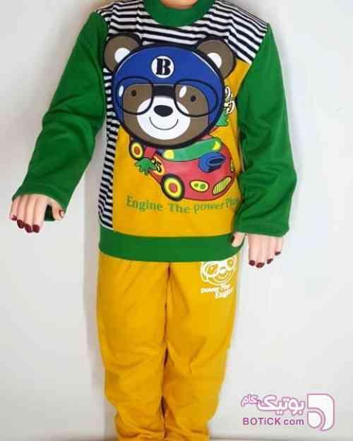 بلوز و شلوار بچگانه پارچه ترک سبز لباس کودک پسرانه