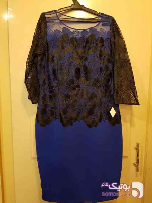 پیراهن بالاتنه گیپور میدی زنانه برند ROCO COترک آبی لباس  مجلسی