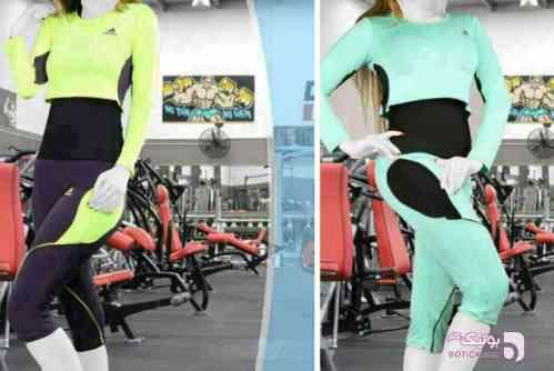 ست ورزشی ترک سبز تی شرت زنانه
