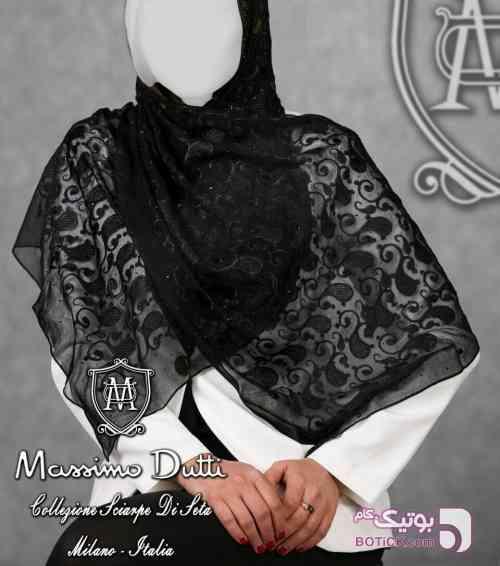 روسری نگین اتریشی ماسیما دوتی مشکی شال و روسری