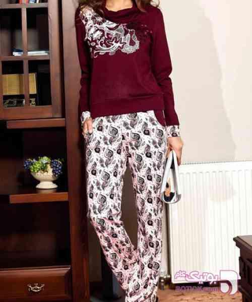 لباس راحتی زنانه  ترک طوسی بلوز زنانه
