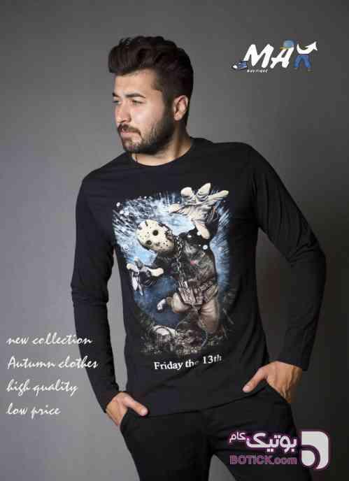 تیشرت استین بلند مردانه مشکی تی شرت مردانه