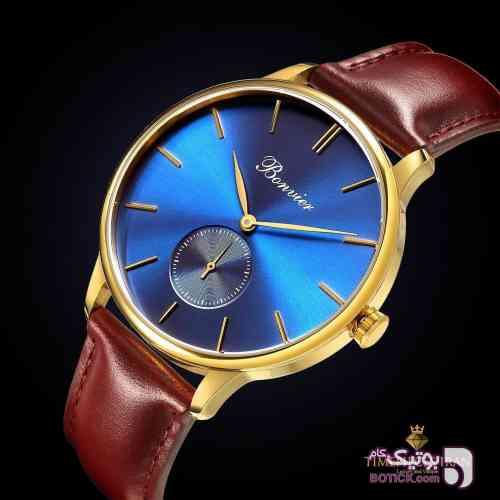 ساعت مچی برند ایتالیایی bonvier آبی ساعت