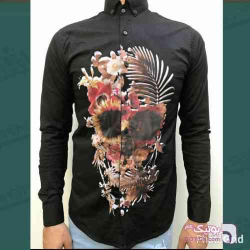 پیراهن آستین بلند flowers مشکی پيراهن مردانه