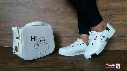 ست کیف و کفش شارچه سفید كفش زنانه