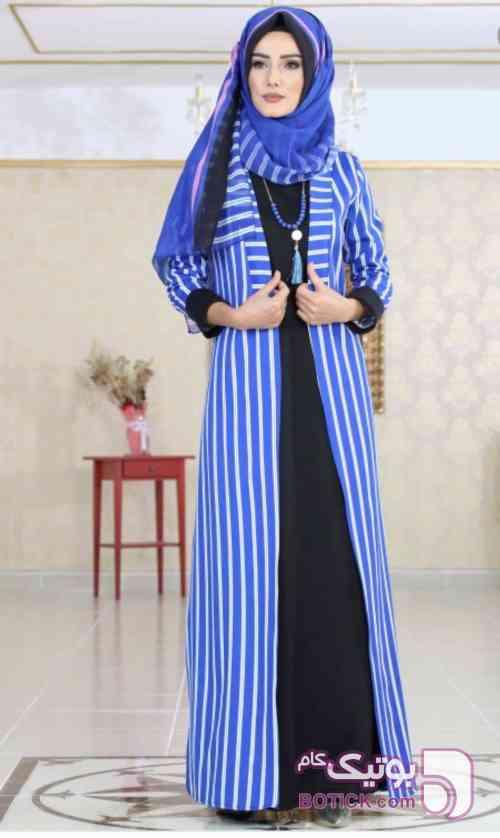 مانتو ، زیر ساریفون، شال  آبی لباس  مجلسی