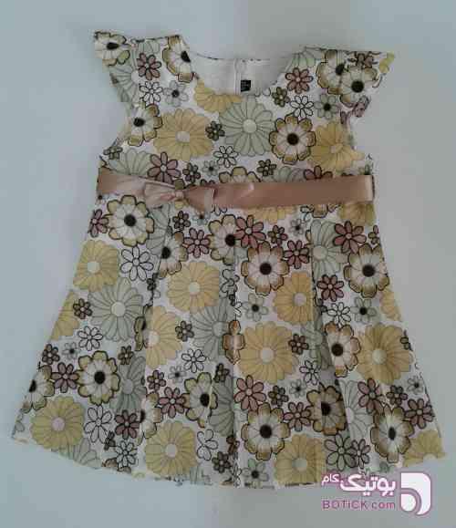 پیراهن دخترانه کرم لباس کودک دخترانه