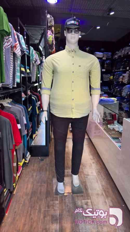 پیراهن سوپرسایز آستین بلند  زرد سایز بزرگ مردانه