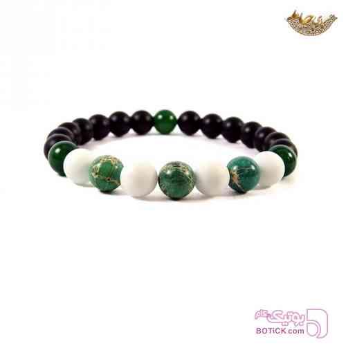 دستبند مهره ای عقیق و هولیت سبز دستبند و پابند