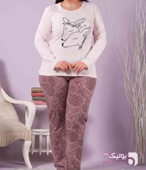 بلوز شلوار زنانه سکسن سایز بزرگ مدل 60074 صورتی لباس راحتی زنانه
