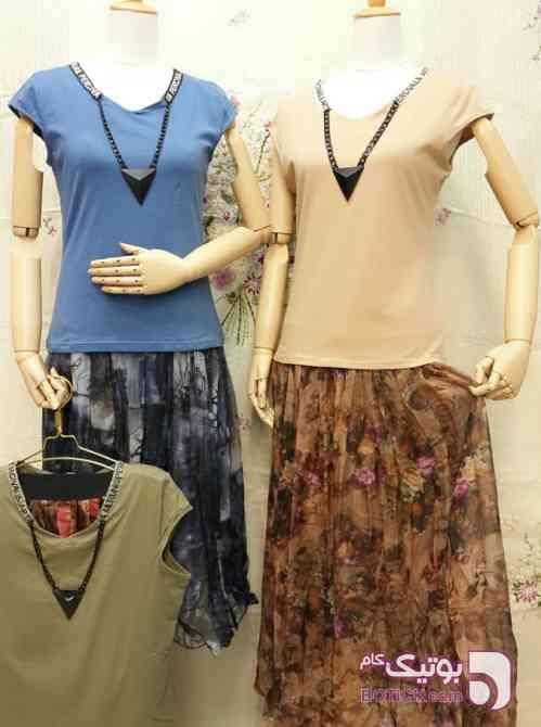 دو تکه تی شرت و دامن سبز لباس راحتی زنانه