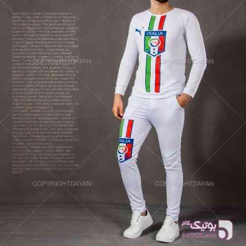 ست تیشرت شلوار ایتالیا(سفید) و کفش Chimba(سفید) سفید ست ورزشی مردانه