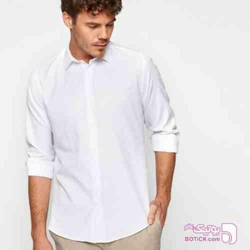 پیراهن کلاسیک مردانه راسته کوتون سفید پيراهن مردانه